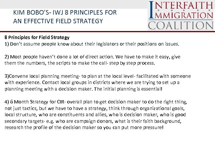 KIM BOBO'S- IWJ 8 PRINCIPLES FOR AN EFFECTIVE FIELD STRATEGY 8 Principles for Field