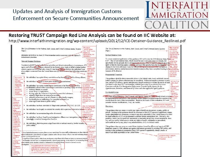 Updates and Analysis of Immigration Customs Enforcement on Secure Communities Announcement Restoring TRUST Campaign