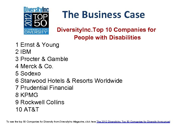 The Business Case The Diversity. Inc. Top 10 Companies for People with Disabilities