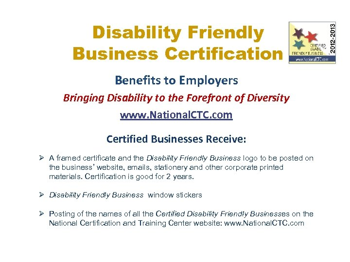 Disability Friendly Business Certification Benefits to Employers Bringing Disability to the Forefront of Diversity