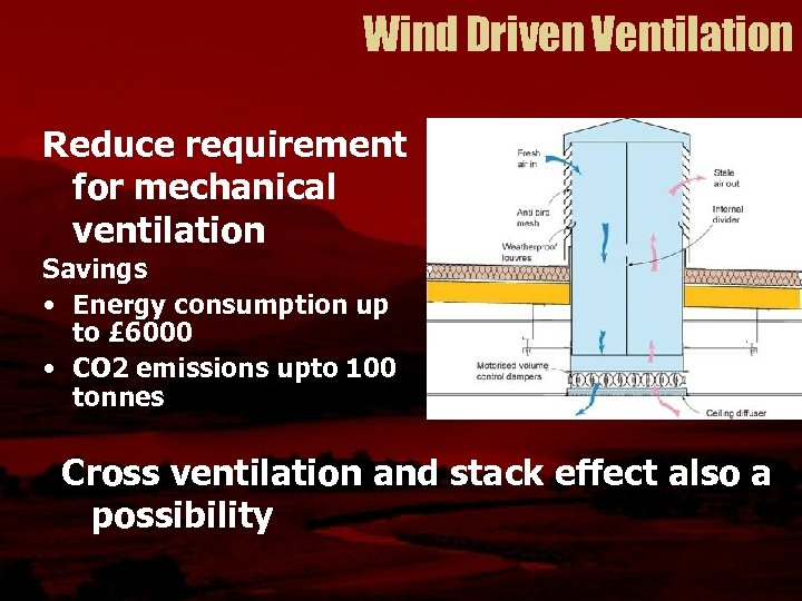Wind Driven Ventilation Reduce requirement for mechanical ventilation Savings • Energy consumption up to