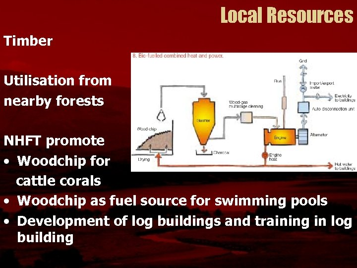 Local Resources Timber Utilisation from nearby forests NHFT promote • Woodchip for cattle corals