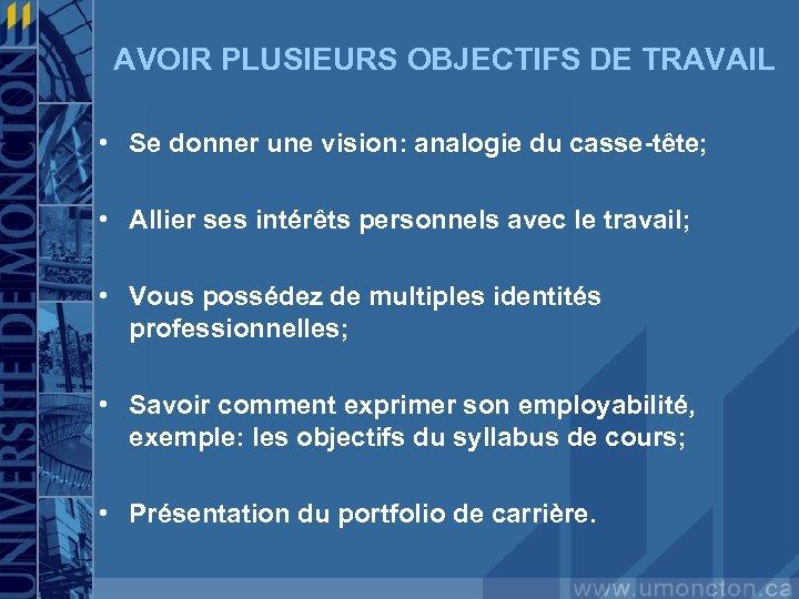 AVOIR PLUSIEURS OBJECTIFS DE TRAVAIL • Se donner une vision: analogie du casse-tête; •