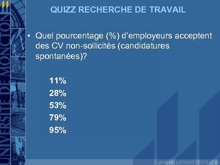 QUIZZ RECHERCHE DE TRAVAIL • Quel pourcentage (%) d'employeurs acceptent des CV non-sollicités (candidatures