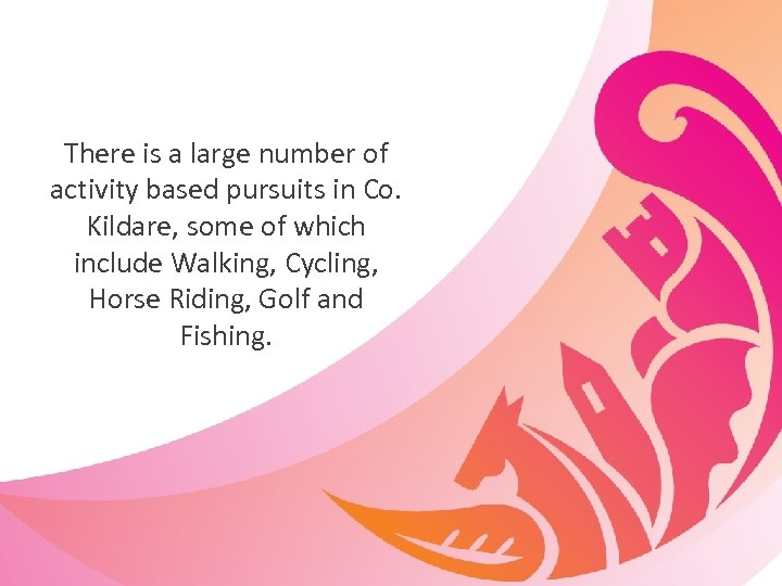 There is a large number of activity based pursuits in Co. Kildare, some of