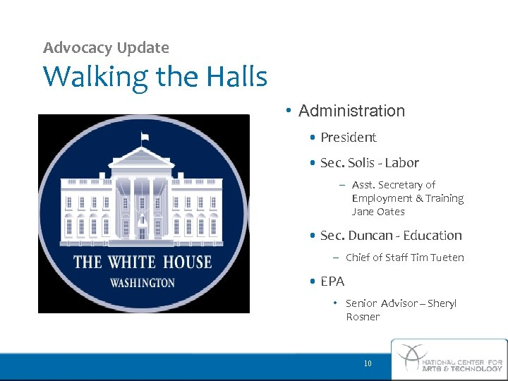 Advocacy Update Walking the Halls • Administration • President • Sec. Solis - Labor