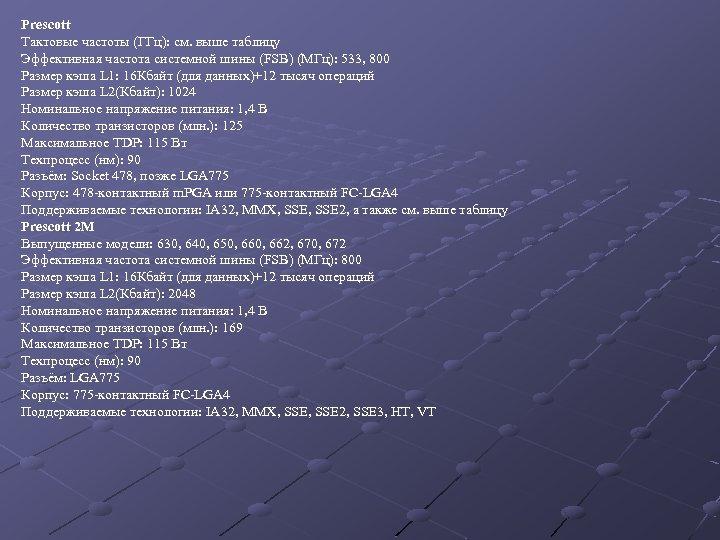 Prescott Тактовые частоты (ГГц): см. выше таблицу Эффективная частота системной шины (FSB) (МГц): 533,