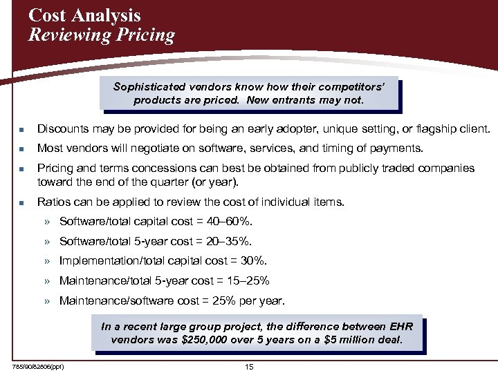 Cost Analysis Reviewing Pricing Sophisticated vendors know how their competitors' products are priced. New