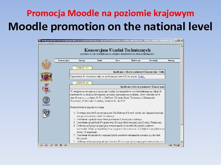 Promocja Moodle na poziomie krajowym Moodle promotion on the national level