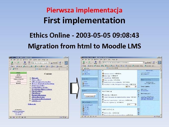 Pierwsza implementacja First implementation Ethics Online - 2003 -05 -05 09: 08: 43 Migration