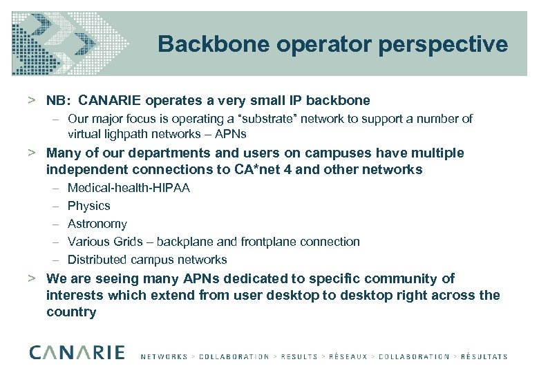 Backbone operator perspective > NB: CANARIE operates a very small IP backbone – Our