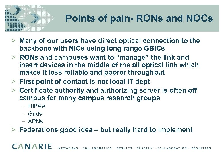 Points of pain- RONs and NOCs > Many of our users have direct optical
