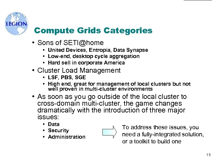 Compute Grids Categories • Sons of SETI@home • United Devices, Entropia, Data Synapse •