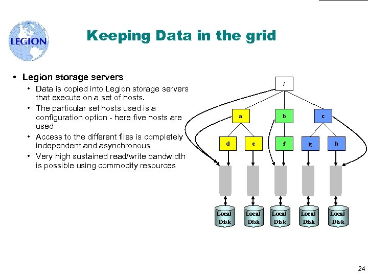 Keeping Data in the grid • Legion storage servers • Data is copied into
