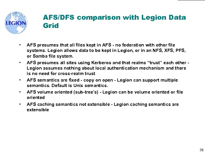 AFS/DFS comparison with Legion Data Grid • • • AFS presumes that all files