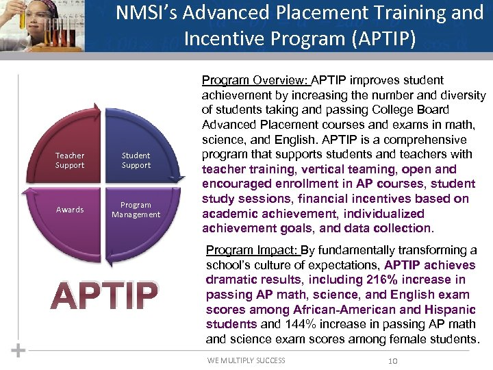 NMSI's Advanced Placement Training and Incentive Program (APTIP) Teacher Support Student Support Awards Program