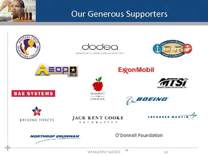 Our Generous Supporters O'Donnell Foundation WE MULTIPLY SUCCESS 18 18