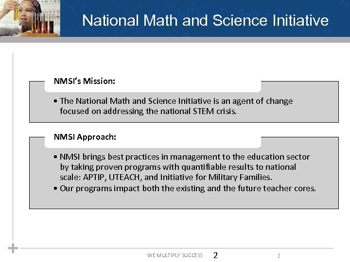National Math and Science Initiative NMSI's Mission: • The National Math and Science Initiative