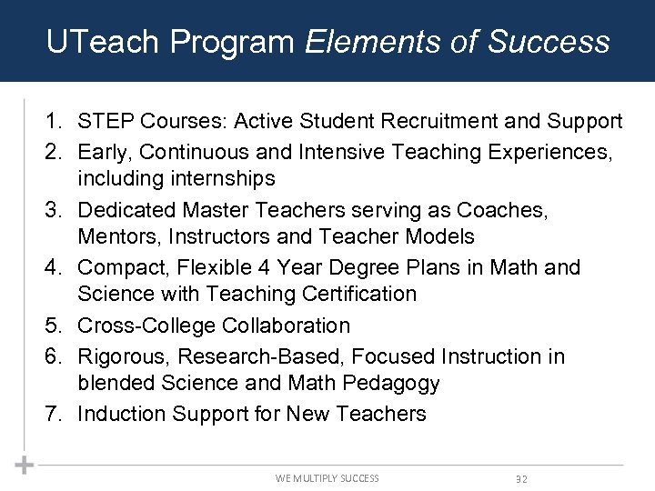 UTeach Program Elements of Success 1. STEP Courses: Active Student Recruitment and Support 2.