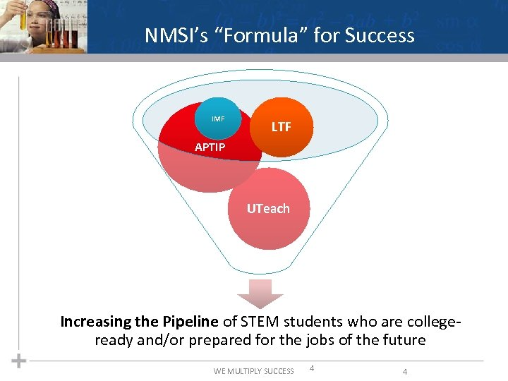 "NMSI's ""Formula"" for Success IMF LTF APTIP UTeach Increasing the Pipeline of STEM students"