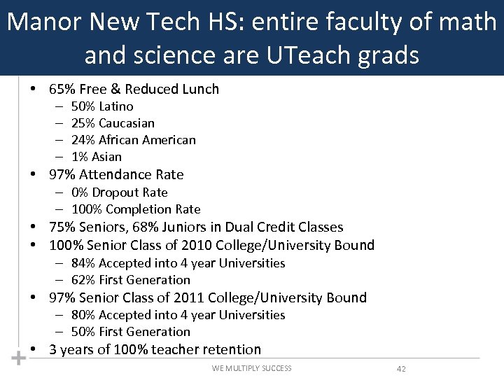 Manor New Tech HS: entire faculty of math and science are UTeach grads •