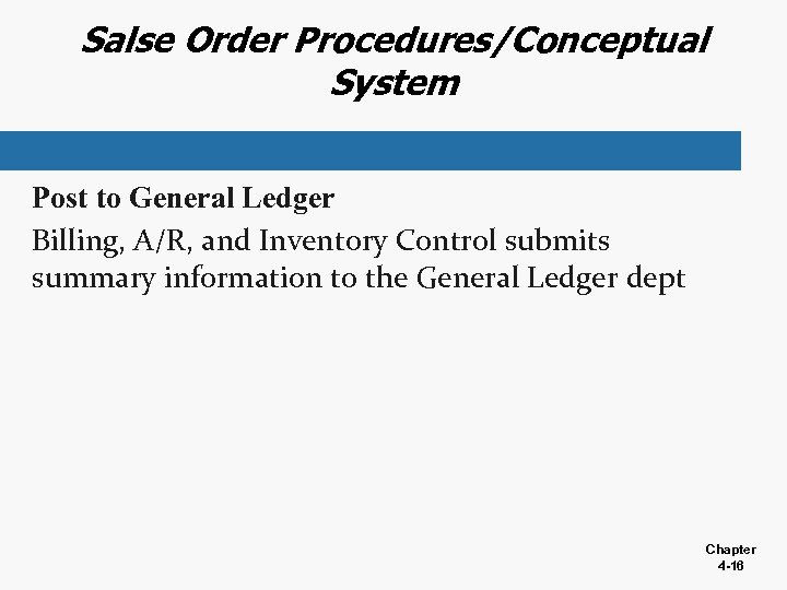 Salse Order Procedures/Conceptual System Post to General Ledger Billing, A/R, and Inventory Control submits