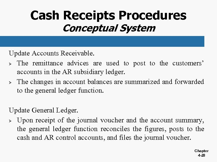 Cash Receipts Procedures Conceptual System Update Accounts Receivable. Ø The remittance advices are used