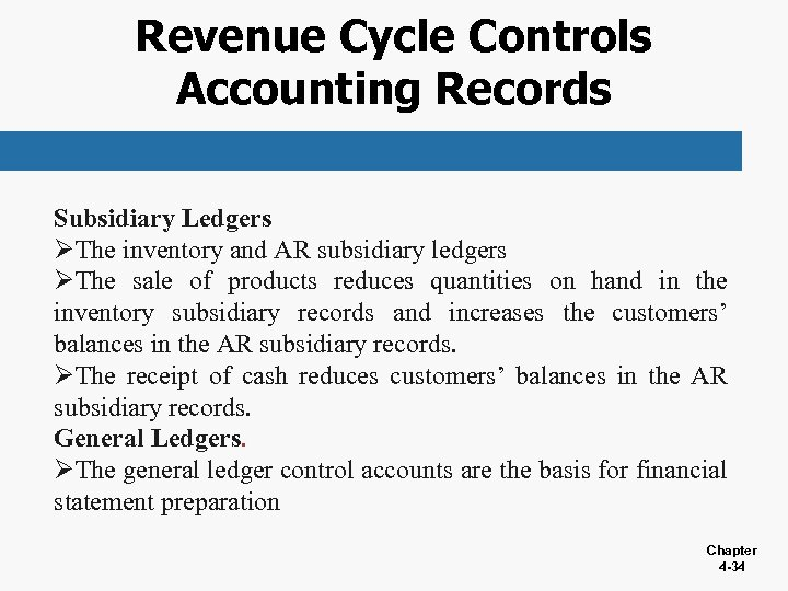 Revenue Cycle Controls Accounting Records Subsidiary Ledgers ØThe inventory and AR subsidiary ledgers ØThe
