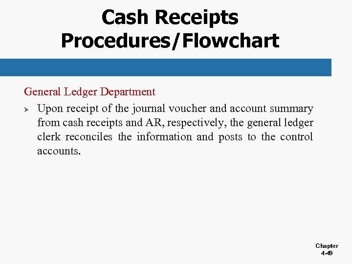 Cash Receipts Procedures/Flowchart General Ledger Department Ø Upon receipt of the journal voucher and