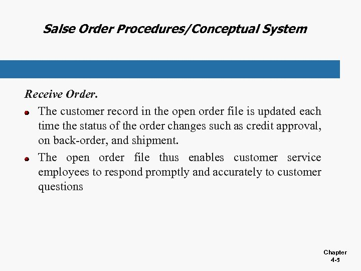 Salse Order Procedures/Conceptual System Receive Order. The customer record in the open order file