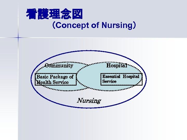 看護理念図 (Concept of Nursing) Community Hospital Basic Package of Health Service Essential Hospital Service