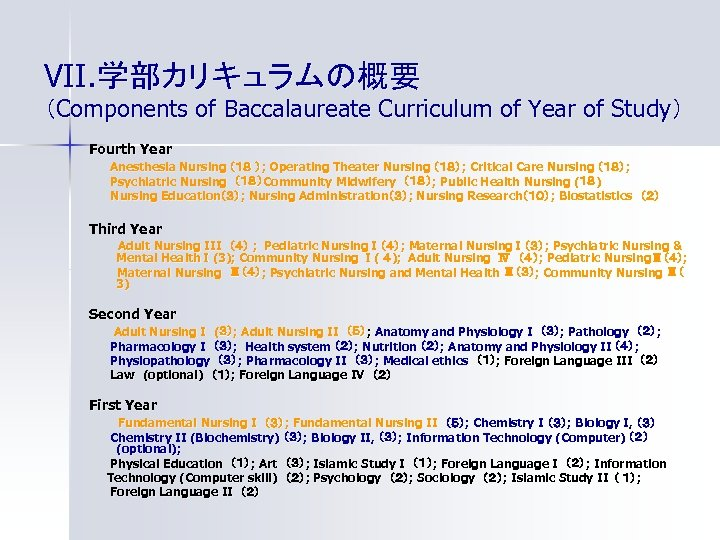 VII. 学部カリキュラムの概要 (Components of Baccalaureate Curriculum of Year of Study ) Fourth Year Anesthesia