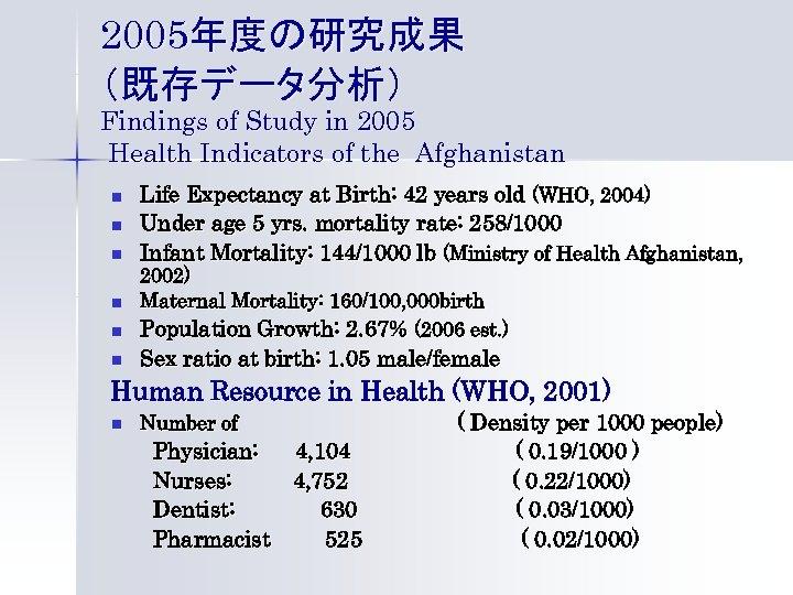 2005年度の研究成果 (既存データ分析) Findings of Study in 2005 Health Indicators of the Afghanistan n Life