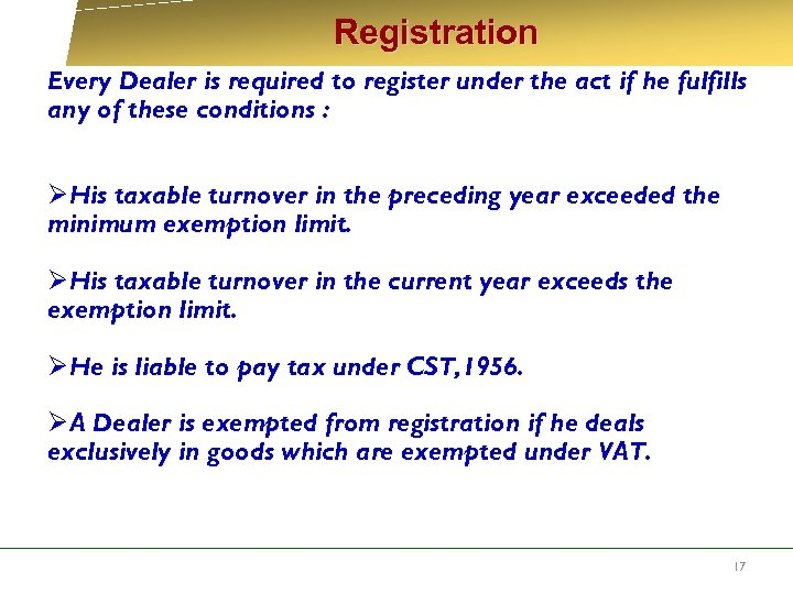 Registration Every Dealer is required to register under the act if he fulfills
