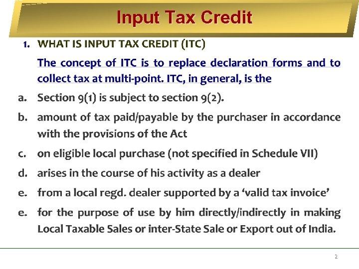 Input Tax Credit 2