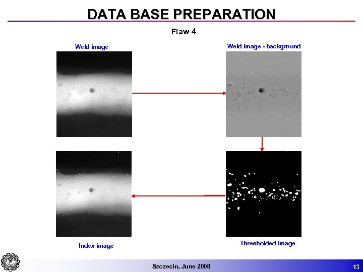 DATA BASE PREPARATION Flaw 4 Weld image - background Weld image Thresholded image Index