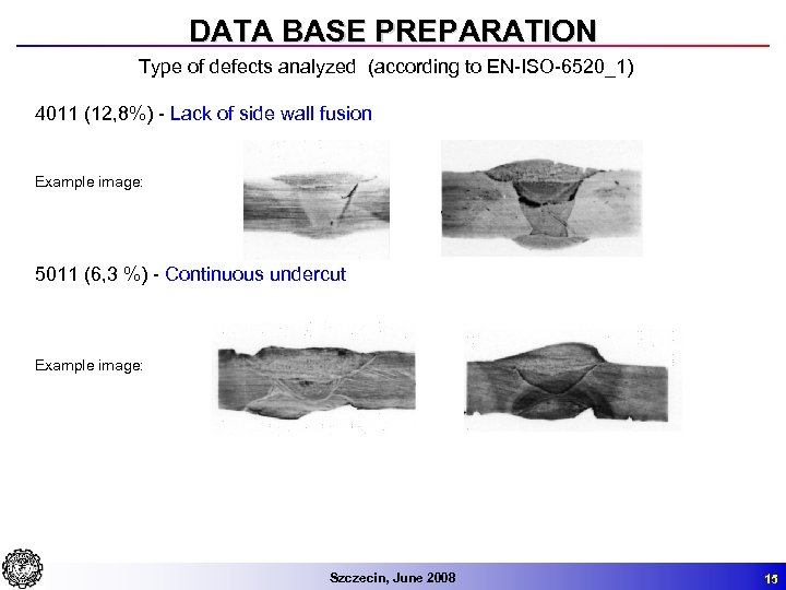 DATA BASE PREPARATION Type of defects analyzed (according to EN-ISO-6520_1) 4011 (12, 8%) -