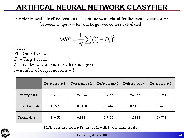 ARTIFICAL NEURAL NETWORK CLASYFIER In order to evaluate effectiveness of neural network classifier the