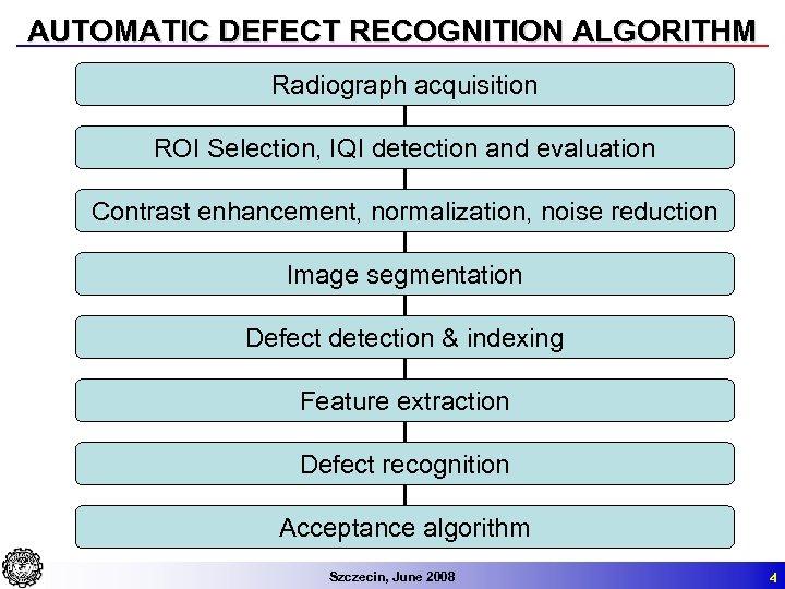 AUTOMATIC DEFECT RECOGNITION ALGORITHM Radiograph acquisition ROI Selection, IQI detection and evaluation Contrast enhancement,