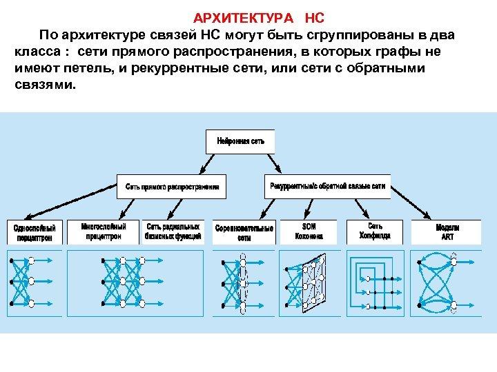 АРХИТЕКТУРА НС По архитектуре связей НС могут быть сгруппированы в два класса : сети