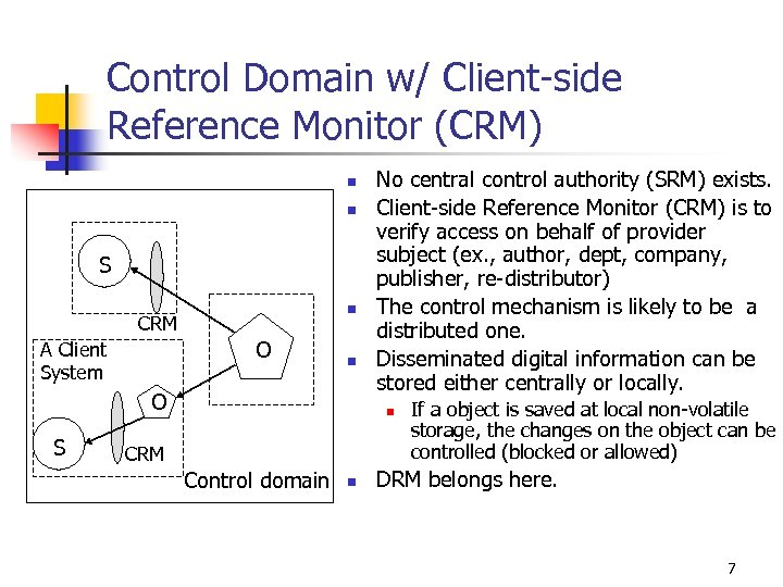 Control Domain w/ Client-side Reference Monitor (CRM) n n S n CRM O A