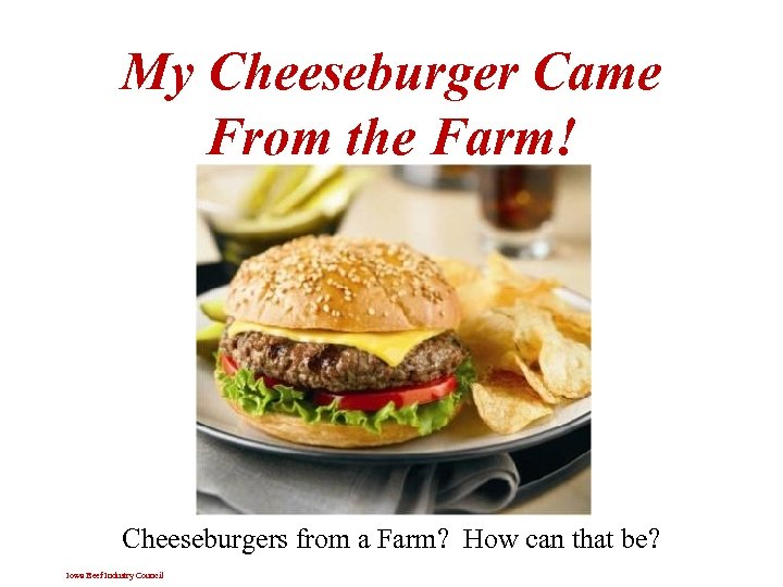 My Cheeseburger Came From the Farm! Cheeseburgers from a Farm? How can that be?