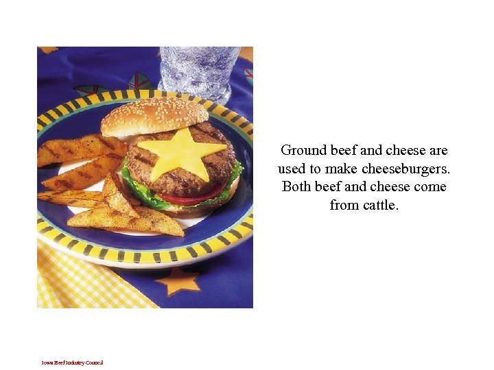 Ground beef and cheese are used to make cheeseburgers. Both beef and cheese come