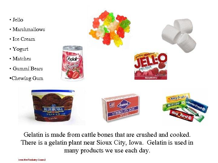 • Jello • Marshmallows • Ice Cream • Yogurt • Matches • Gummi
