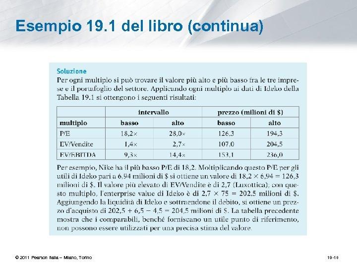 Esempio 19. 1 del libro (continua) © 2011 Pearson Italia – Milano, Torino 19