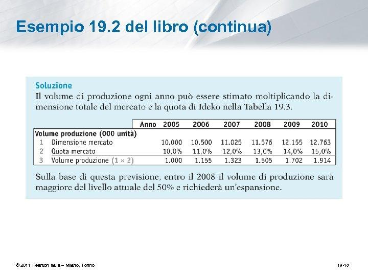Esempio 19. 2 del libro (continua) © 2011 Pearson Italia – Milano, Torino 19