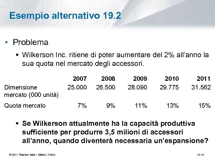 Esempio alternativo 19. 2 • Problema § Wilkerson Inc. ritiene di poter aumentare del