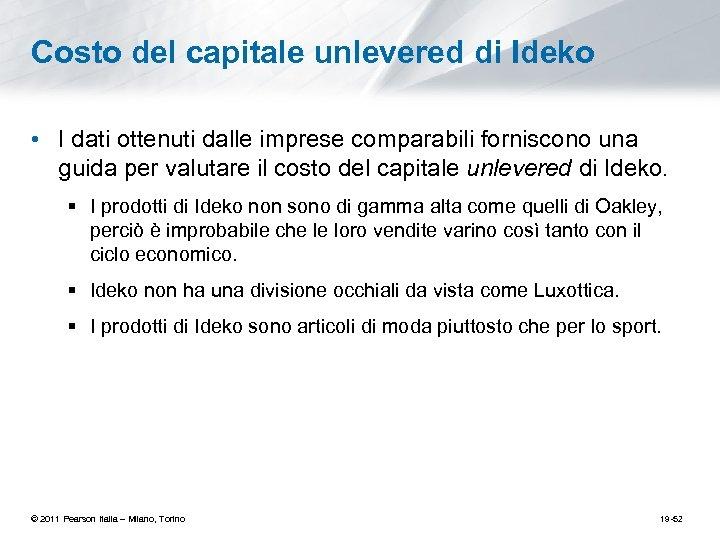 Costo del capitale unlevered di Ideko • I dati ottenuti dalle imprese comparabili forniscono