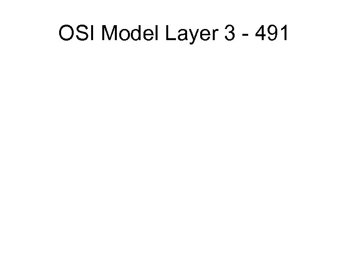 OSI Model Layer 3 - 491