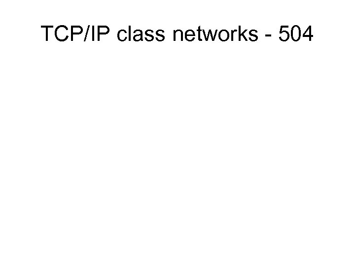 TCP/IP class networks - 504